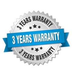 3 years warranty 3d silver badge with blue ribbon vector