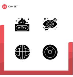 4 universal solid glyph signs symbols risky vector