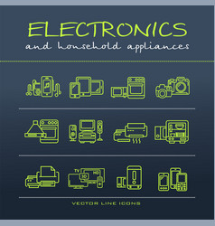 A collection of electronics and home appliance vector