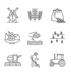 agriculture linear icons set vector image