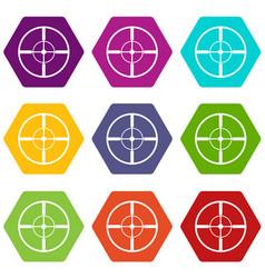 aim icon set color hexahedron vector image
