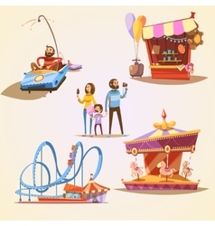 Amusement park cartoon set vector