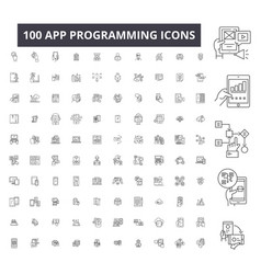 app programming editable line icons 100 vector image