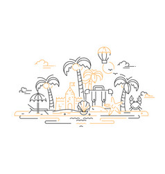 At the seaside - line travel vector