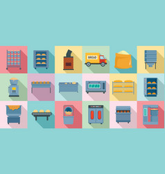 bakery factory icons set flat style vector image
