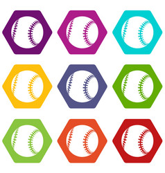 baseball icons set 9 vector image