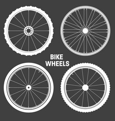 bicycle wheel symbols collection bike rubber tyre vector image