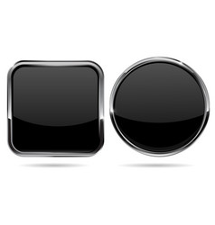Black button shiny glass buttons with metal frame vector
