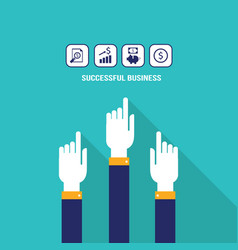 businessman hands pointing on the web icons with vector image