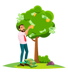businessman pick an money from a tree instead of vector image