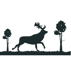 cartoon silhouette deer in forest vector image