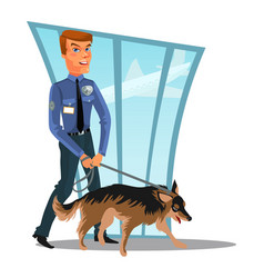 Caucasian police officer with dog canine security vector