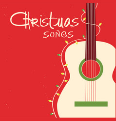 christmas songs guitar on red background greeting vector image