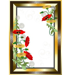 Classical gold plated frame with wildflowers vector image vector image