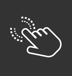Click hand icon cursor finger sign flat on black vector