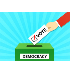 closeup man drop vote ticket into vote box vector image