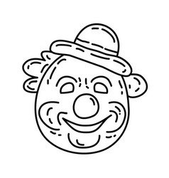 clown icon doddle hand drawn or black outline vector image