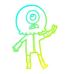 Cold gradient line drawing cartoon cyclops alien vector