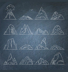 Collection of mountain icons on chalkboard vector