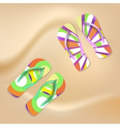 Colored beach slippers sandy background vector
