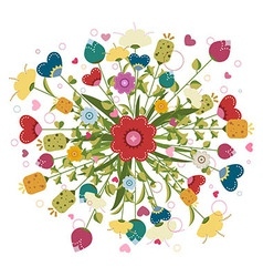 Colorful bouquet made flowers vector