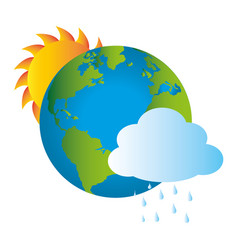 Colorful earth world map with rainy cloud and sun vector