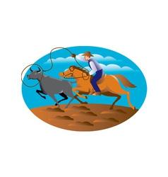 cowboy riding horse lasso bull cow vector image