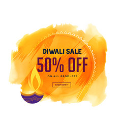 Creative diwali sale banner with diya and vector