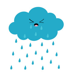 cute cartoon kawaii crying cloud with rain drops vector image