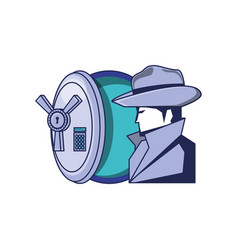 cyber security agent with safe box vector image