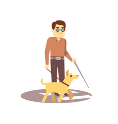 Dog companion and blind man on walk isolated vector
