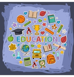 doodle education set vector image