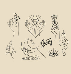 Emblems with female hands flowers and magical vector