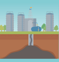 factory oil extraction process fracking vector image