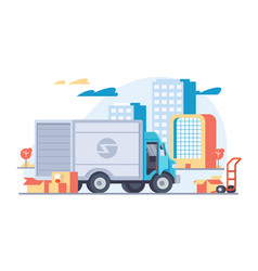 flat car delivery with modern moving boxes vector image