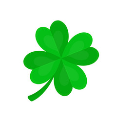 Four-leaf clover for luck flat cartoon vector