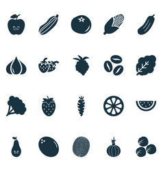 fruit icons set with pear fruit maize and other vector image
