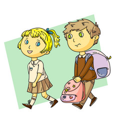 Funny boy helps cute girl with heavy school bag vector