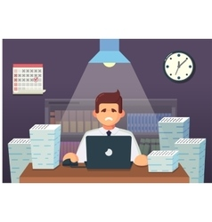 Funny flat Cartoon Character Tired Office Worker vector