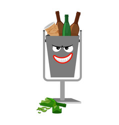 garbage can with glass trash vector image