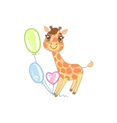 Giraffe With Balloons vector