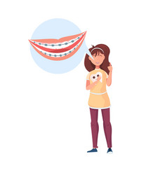 girl with braces icon vector image