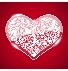 Glass valentine heart on red background vector