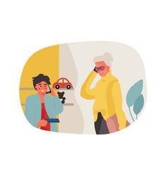 Grandma and grandson talking on phone cartoon vector