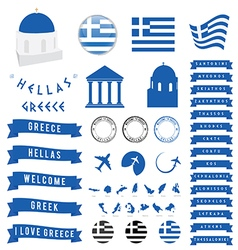Greek travel symbol and map vector