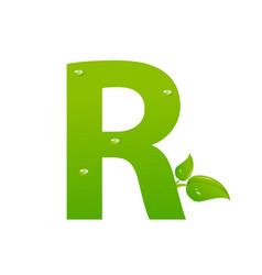 green eco letter r illiustration vector image