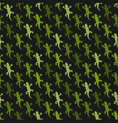 Green lizards black background seamless pattern vector