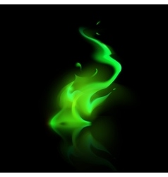 Green Magic Fire Flame Bonfire on Background vector