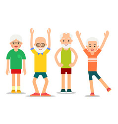 Group of older people perform gymnastic exercises vector