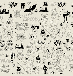 Halloween seamless pattern with icons vector